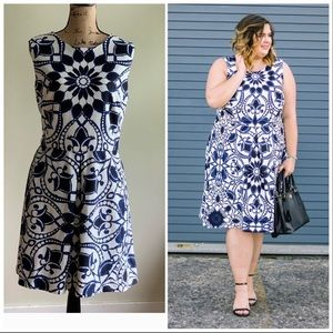 Dress Barn blue black white print dress size 16
